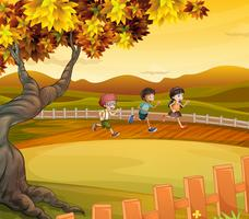 Três crianças, correndo, ao longo, a, campo vetor