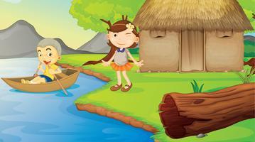 crianças e um barco vetor