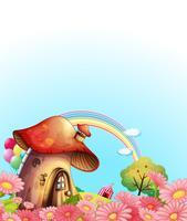 Uma casa de cogumelos acima da colina com um jardim vetor