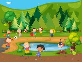 Crianças e parque vetor