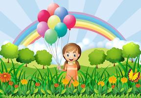 Um, menina, com, balões vetor