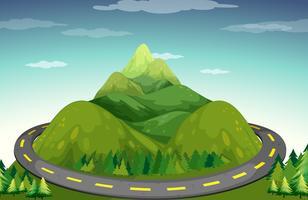 Estrada e montanha vetor