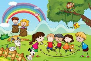 animais e crianças vetor