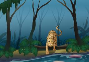 Um leopardo no meio da floresta vetor
