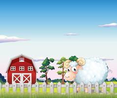 Uma ovelha dentro da cerca na fazenda vetor