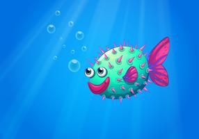 Um, baiacu, peixe, sorrindo vetor