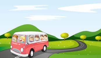 ônibus e estrada vetor
