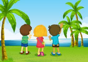 Três, crianças, observar, rio vetor