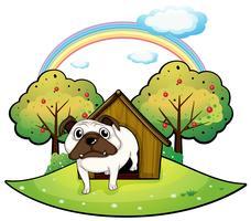 Um cão dentro de uma casa de cachorro vetor