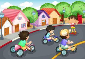 Crianças brincando na estrada vetor