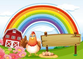 Uma galinha ao lado do tabuleiro vazio na fazenda com um arco-íris