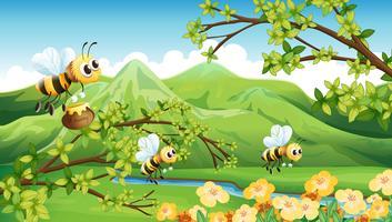 Abelhas perto da montanha vetor