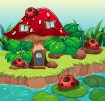 Insetos fora da casa dos cogumelos vetor