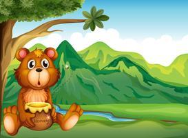 Um urso na margem do rio vetor