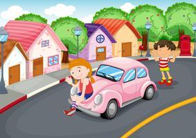 Crianças e carro vetor
