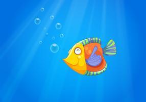 Um oceano profundo com um peixe vetor