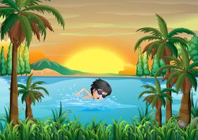 Um, menino, natação, em, a, lago vetor