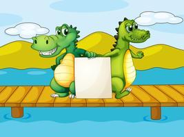 Dois, crocodilos, segurando, um, vazio, tábua vetor
