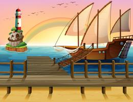 Barco e cais vetor