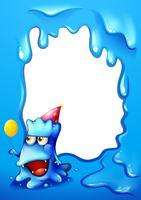 Um design de borda azul com um monstro de chapéu e segurando um balão