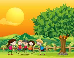 Cinco crianças, tocando, pular corda vetor