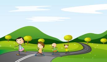 crianças e estrada vetor