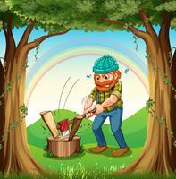 Um homem cortando a floresta perto das árvores vetor