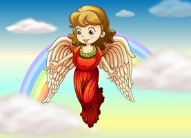 Um anjo e um arco-íris vetor