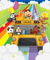 Um ônibus do zoológico cheio de animais