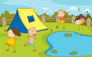Crianças camping vetor