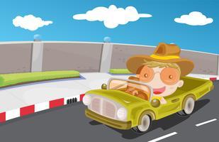 Dirigindo carro na estrada vetor