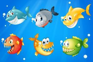 Seis peixes coloridos sob o mar profundo vetor
