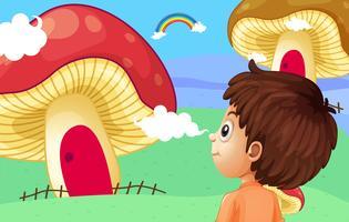 Um, menino jovem, observar, a, gigante, cogumelo, casas vetor