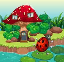 Um bug dançando perto da casa dos cogumelos vetor