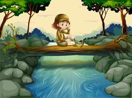 Uma menina sentada na madeira