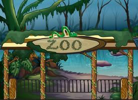 Um zoológico e um rio vetor