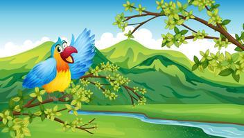 Um pássaro em um galho de uma árvore vetor