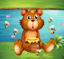 Um urso e abelhas perto do rio vetor