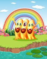 Três monstros perto da lagoa vetor