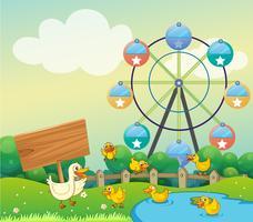 Um pato mãe e seus filhos ao lado de uma sinalização vazia vetor