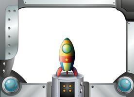 Uma borda de armação de metal com uma nave espacial