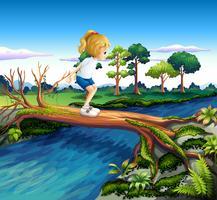 Uma menina que joga acima do tronco
