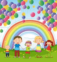 Uma família feliz sob os balões flutuantes com um arco-íris vetor