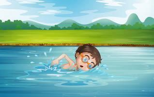 Um, homem jovem, natação vetor