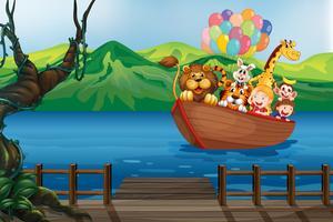 Um barco com animais