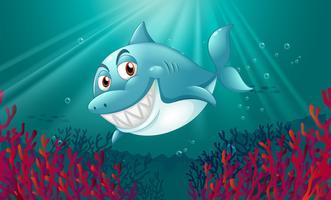 Um tubarão azul no fundo do mar