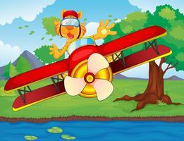 Avião e tigre vetor