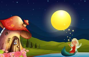 Uma fada e sua casa de cogumelos vetor
