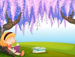 Um, menina, lendo um livro, parque vetor