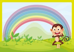 Macaco e arco-íris vetor